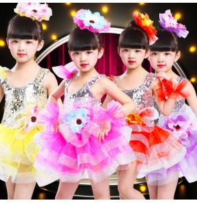 Girls princess paillette modern jazz dance dresses kids children ballet flower girls chorus stage performance dresses